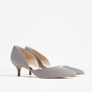 Zara Grey Suede Low Heel Court Shoe